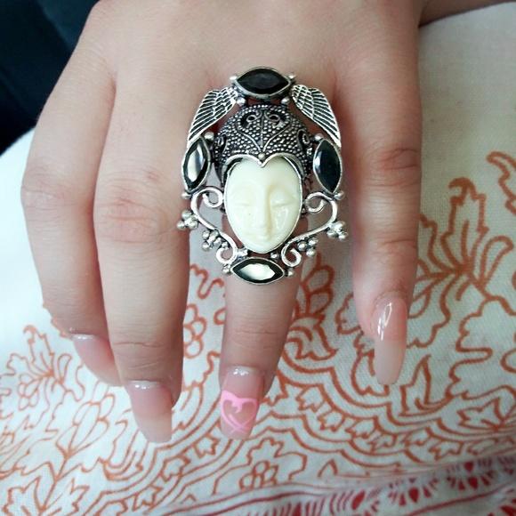 Jewelry Balinese Goddess Carved Bone Face Ring Poshmark